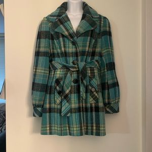 Mac & Jac Plaid Blue Wool Blend Coat